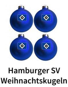 Blaue Christbaumkugel mit Aufdruck des HSV Logos.