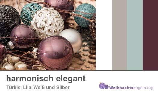 """Weihnachtskugeln Farbmuster """"harmonisch elegant"""" mit den Farben Türkis, Lila, Weiß und Silber."""
