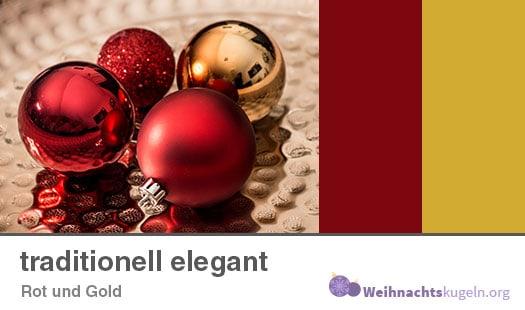 """Weihnachtskugeln Farbmuster """"traditionell elegant"""" mit den Farben Rot und Gold."""