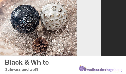 """Weihnachtskugeln Farbmuster """"Black & White"""" mit den Farben Schwarz und Weiß."""
