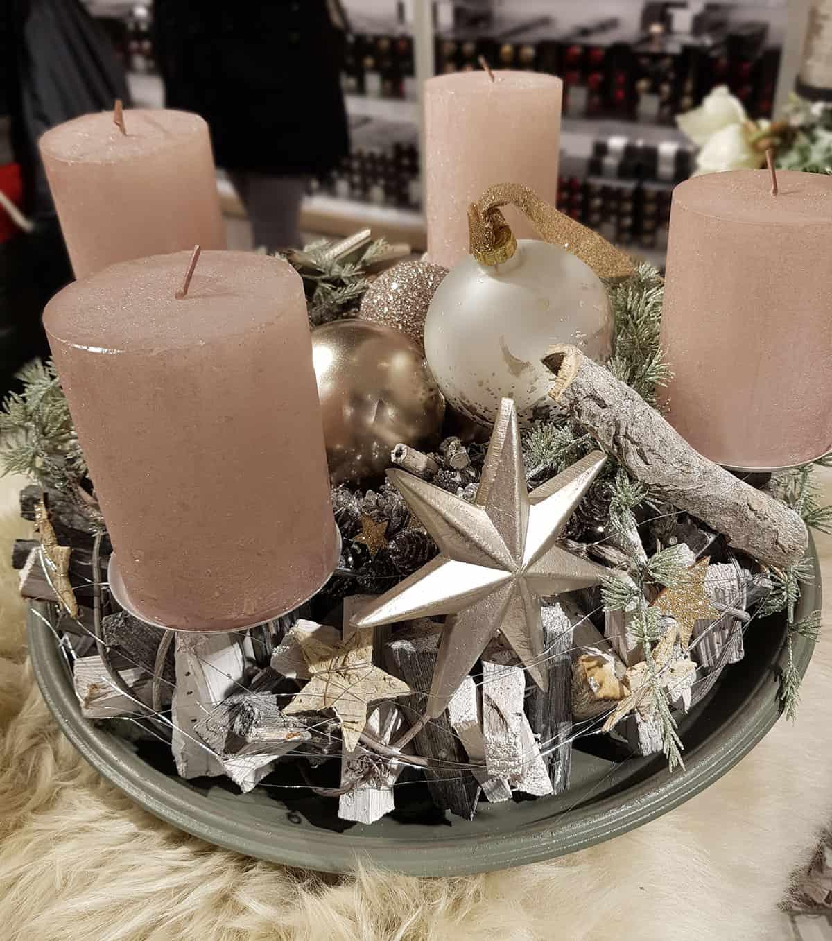 Adventskranz Aus Christbaumkugeln.Adventskranz Rosa Kaufen Weihnachten In Europa