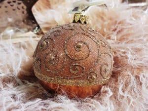 Kupfer Weihnachtskugeln mit Glitzer Ornamenten